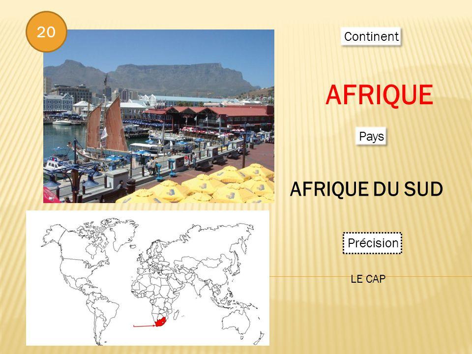 Continent AFRIQUE Pays AFRIQUE DU SUD Précision LE CAP 20