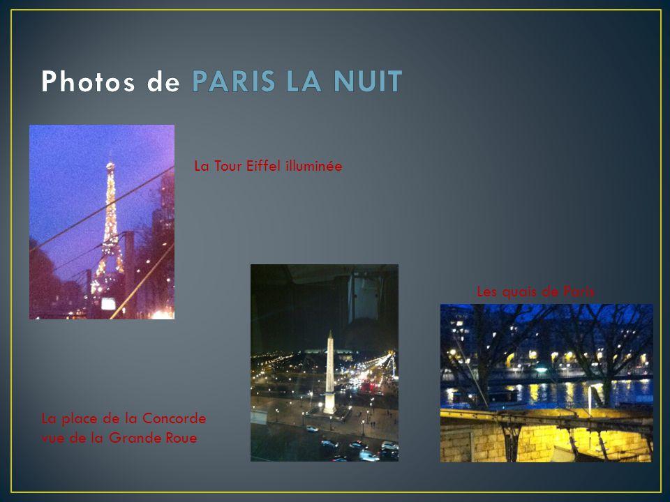 La Tour Eiffel illuminée Les quais de Paris La place de la Concorde vue de la Grande Roue