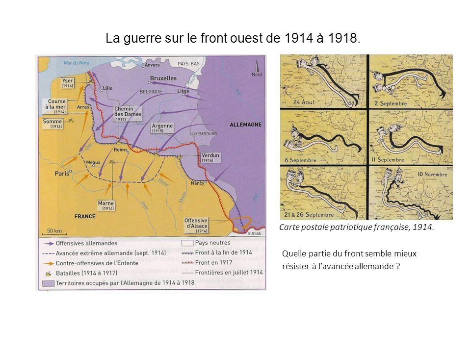 La guerre sur le front ouest de 1914 à 1918. Carte postale patriotique française, 1914. Quelle partie du front semble mieux résister à lavancée allema