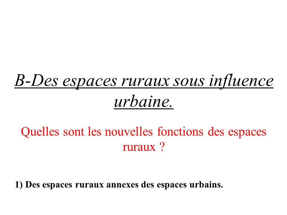 B-Des espaces ruraux sous influence urbaine. Quelles sont les nouvelles fonctions des espaces ruraux ? 1) Des espaces ruraux annexes des espaces urbai