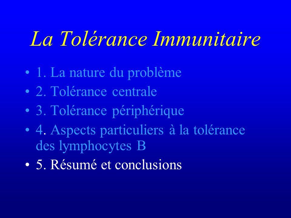 La Tolérance Immunitaire 1. La nature du problème 2. Tolérance centrale 3. Tolérance périphérique 4. Aspects particuliers à la tolérance des lymphocyt
