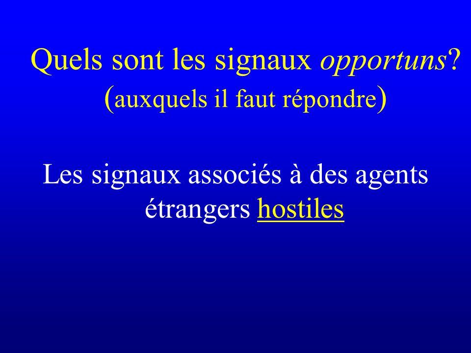Quels sont les signaux opportuns? ( auxquels il faut répondre ) Les signaux associés à des agents étrangers hostiles