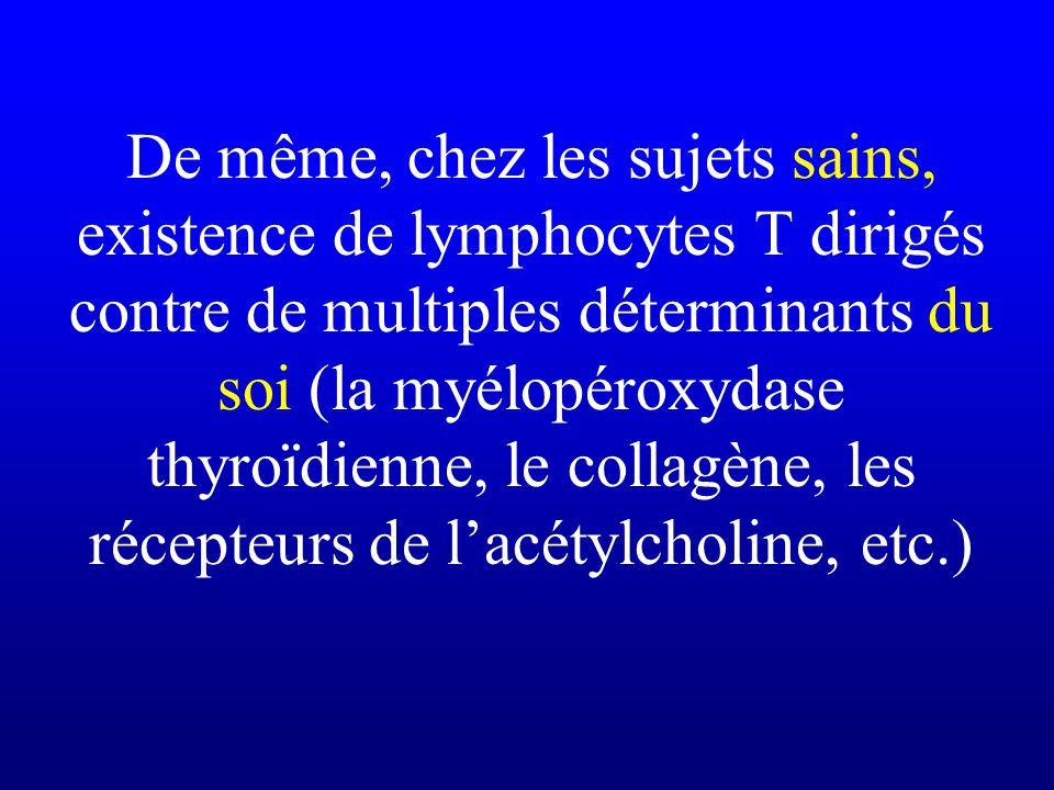 De même, chez les sujets sains, existence de lymphocytes T dirigés contre de multiples déterminants du soi (la myélopéroxydase thyroïdienne, le collag