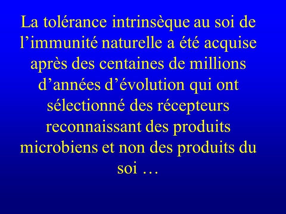 La tolérance intrinsèque au soi de limmunité naturelle a été acquise après des centaines de millions dannées dévolution qui ont sélectionné des récept