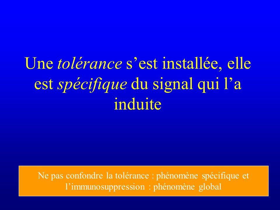 Une tolérance sest installée, elle est spécifique du signal qui la induite Ne pas confondre la tolérance : phénomène spécifique et limmunosuppression