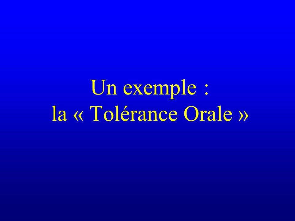 Un exemple : la « Tolérance Orale »