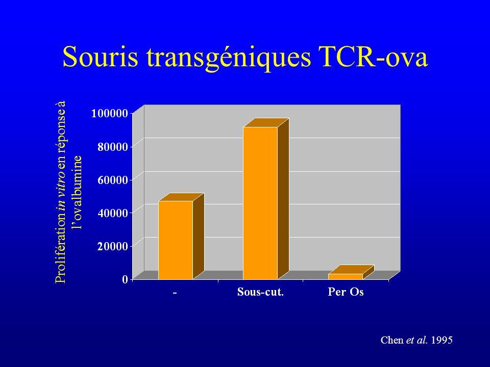 Souris transgéniques TCR-ova Prolifération in vitro en réponse à lovalbumine Chen et al. 1995
