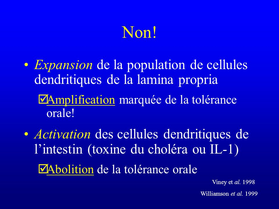 Non! Expansion de la population de cellules dendritiques de la lamina propria þAmplification marquée de la tolérance orale! Activation des cellules de