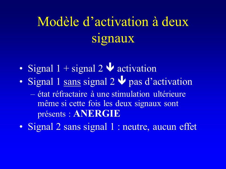 Modèle dactivation à deux signaux Signal 1 + signal 2 activation Signal 1 sans signal 2 pas dactivation –état réfractaire à une stimulation ultérieure