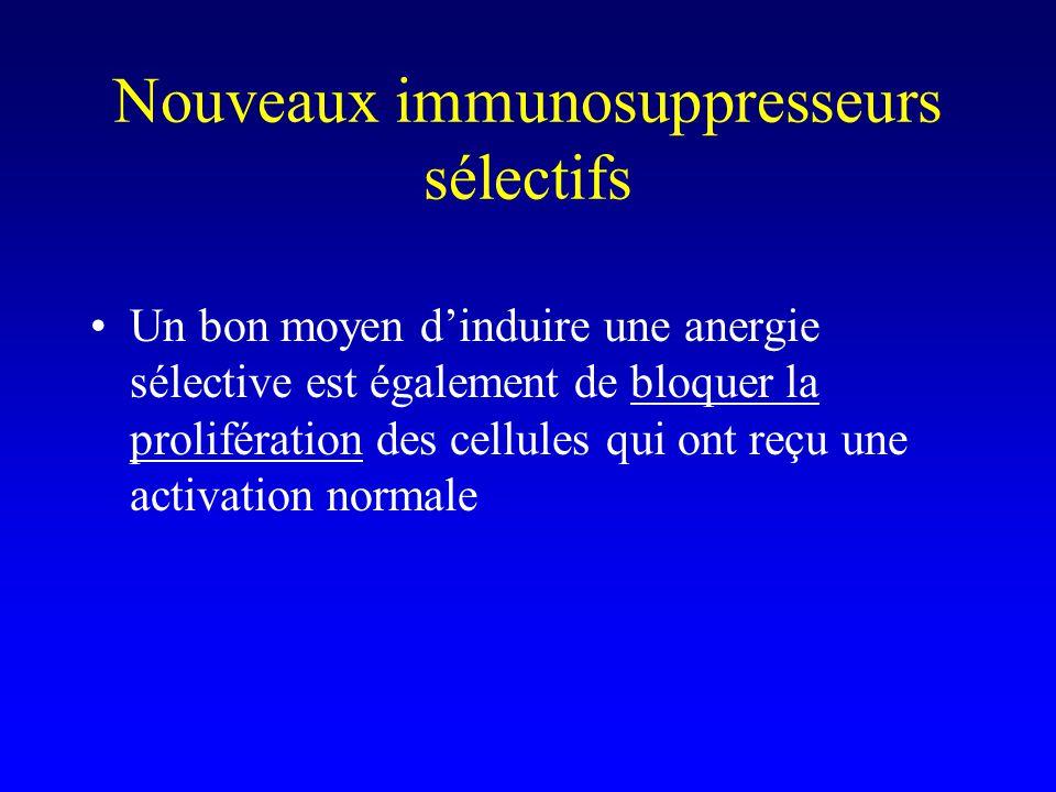 Nouveaux immunosuppresseurs sélectifs Un bon moyen dinduire une anergie sélective est également de bloquer la prolifération des cellules qui ont reçu