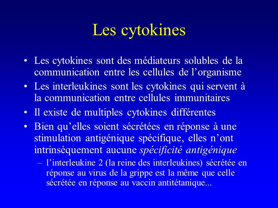 Les cytokines Les cytokines sont des médiateurs solubles de la communication entre les cellules de lorganisme Les interleukines sont les cytokines qui