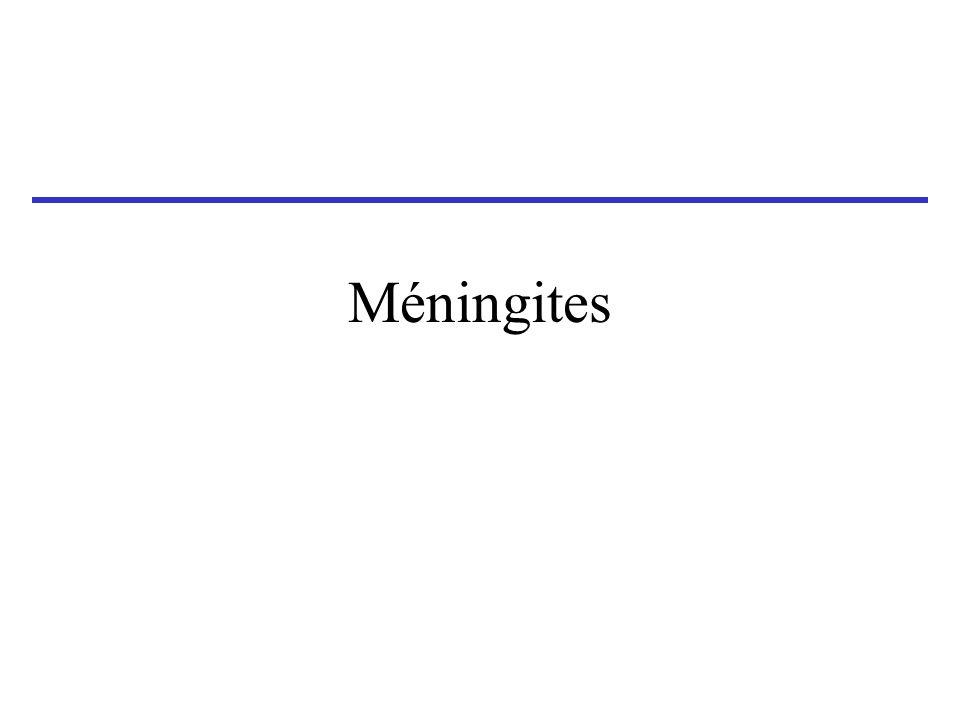 Eléments suggérant une méningite tuberculeuse ( ou d autres méningites chroniques ) Installation Tableau clinique Biologie LCR Aiguë ou subaiguë présentation sévère conscience souvent altérée signes de localisation possibles S.