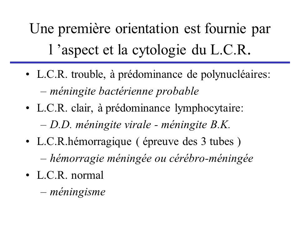 Une première orientation est fournie par l aspect et la cytologie du L.C.R. L.C.R. trouble, à prédominance de polynucléaires: –méningite bactérienne p