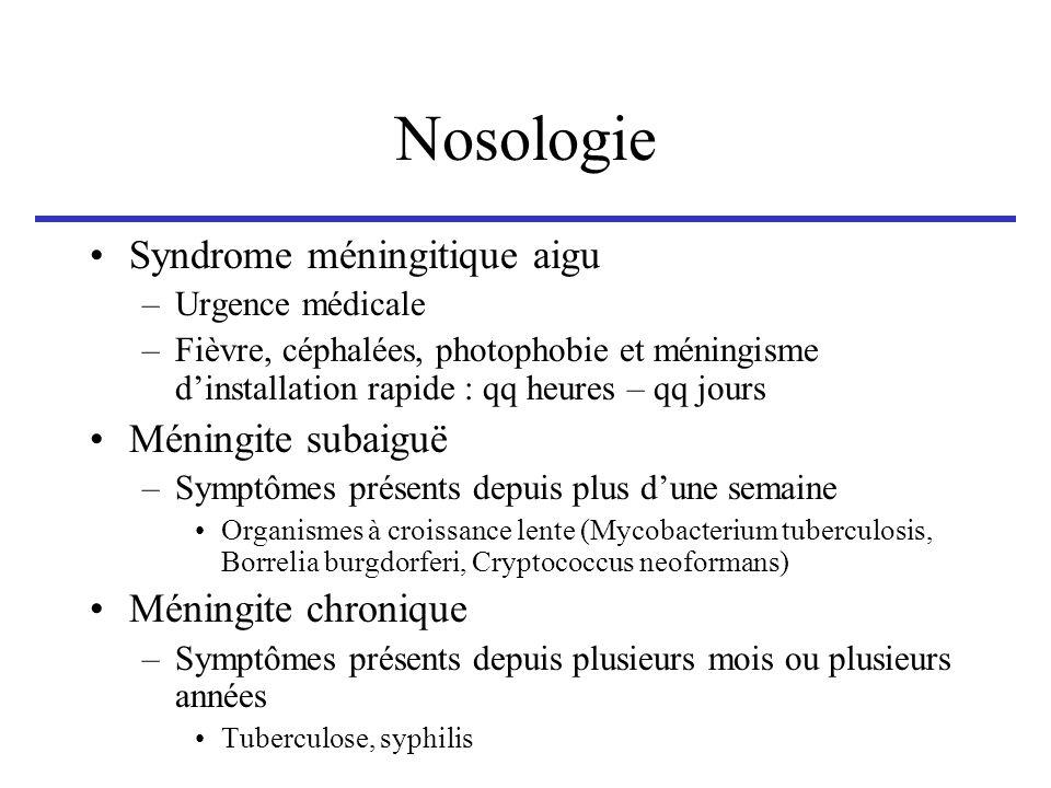 Nosologie Syndrome méningitique aigu –Urgence médicale –Fièvre, céphalées, photophobie et méningisme dinstallation rapide : qq heures – qq jours Ménin