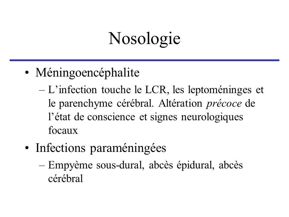 Nosologie Méningoencéphalite –Linfection touche le LCR, les leptoméninges et le parenchyme cérébral. Altération précoce de létat de conscience et sign