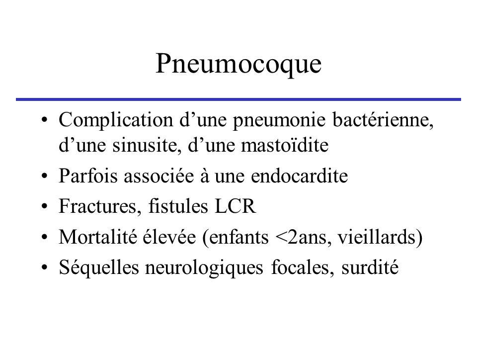 Pneumocoque Complication dune pneumonie bactérienne, dune sinusite, dune mastoïdite Parfois associée à une endocardite Fractures, fistules LCR Mortali