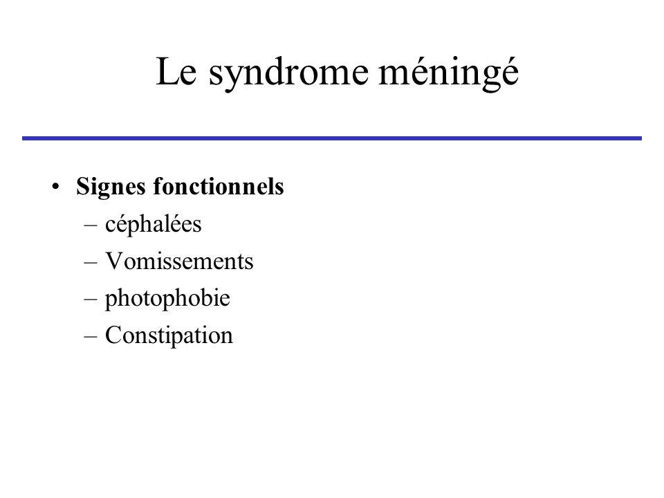 Le syndrome méningé Signes objectifs –attitude en « chien de fusil » –raideur de nuque –signe de Kernig Hanches fléchies sur labdomen avec genoux fléchis.
