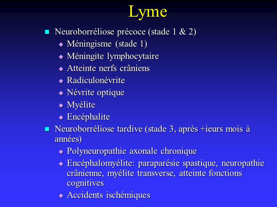 Lyme Neuroborréliose précoce (stade 1 & 2) Neuroborréliose précoce (stade 1 & 2) Méningisme (stade 1) Méningisme (stade 1) Méningite lymphocytaire Mén