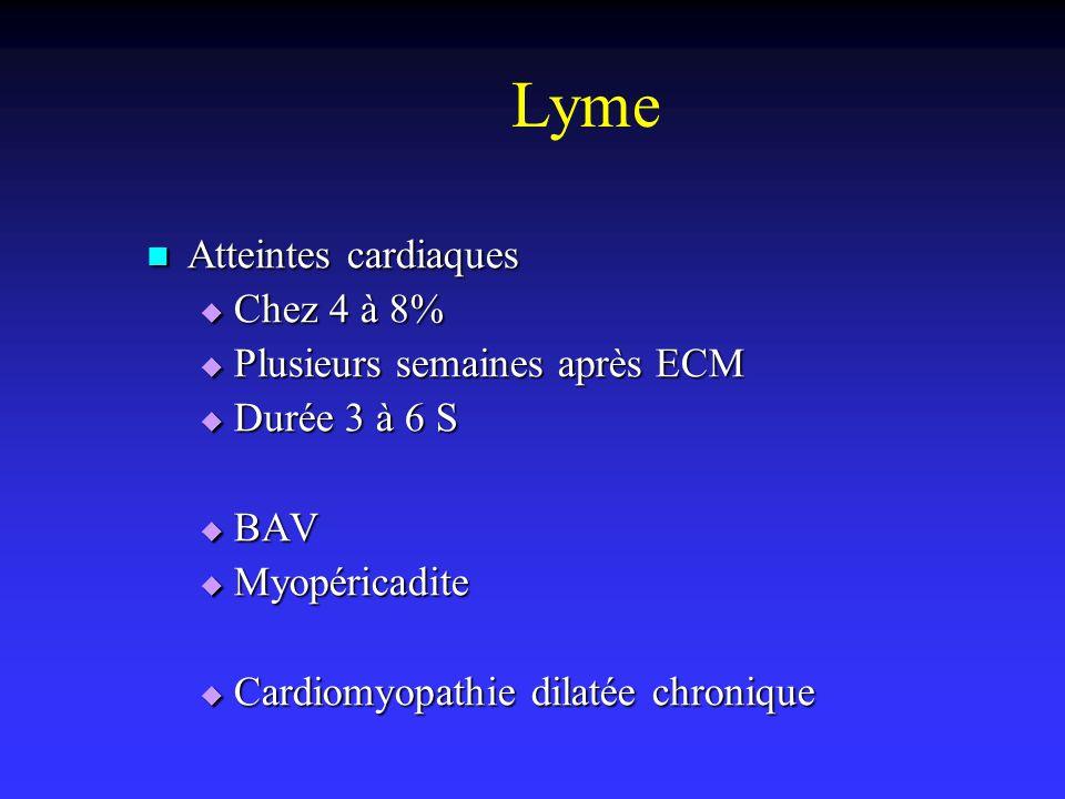 Lyme Atteintes cardiaques Atteintes cardiaques Chez 4 à 8% Chez 4 à 8% Plusieurs semaines après ECM Plusieurs semaines après ECM Durée 3 à 6 S Durée 3