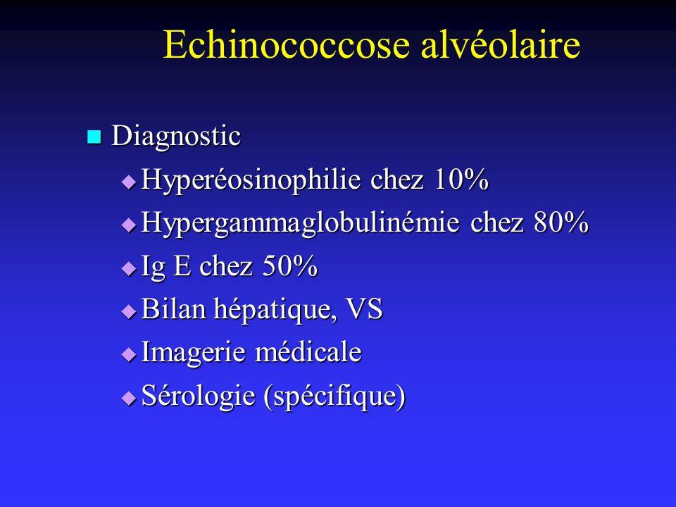 Echinococcose alvéolaire Diagnostic Diagnostic Hyperéosinophilie chez 10% Hyperéosinophilie chez 10% Hypergammaglobulinémie chez 80% Hypergammaglobuli