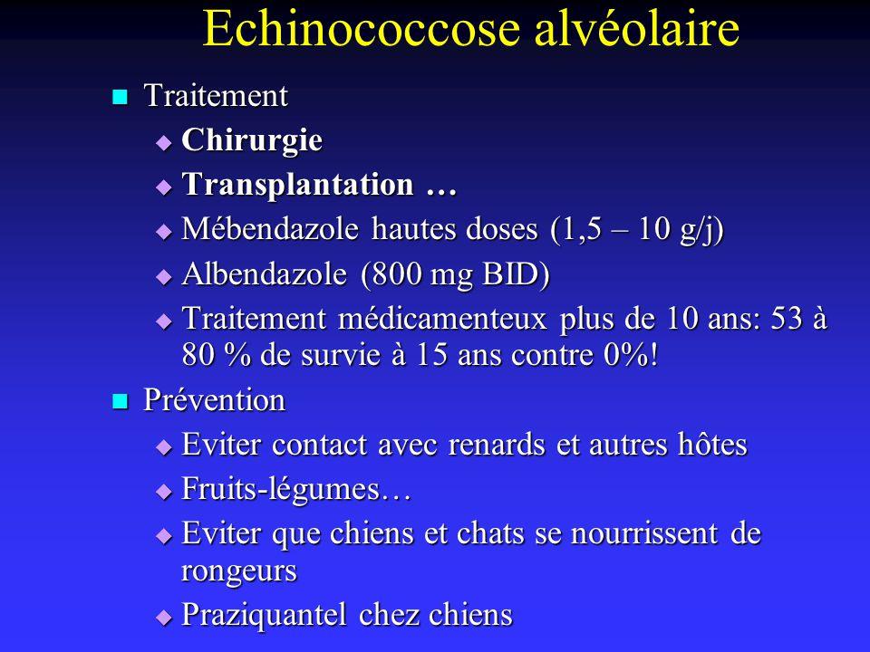 Echinococcose alvéolaire Traitement Traitement Chirurgie Chirurgie Transplantation … Transplantation … Mébendazole hautes doses (1,5 – 10 g/j) Mébenda