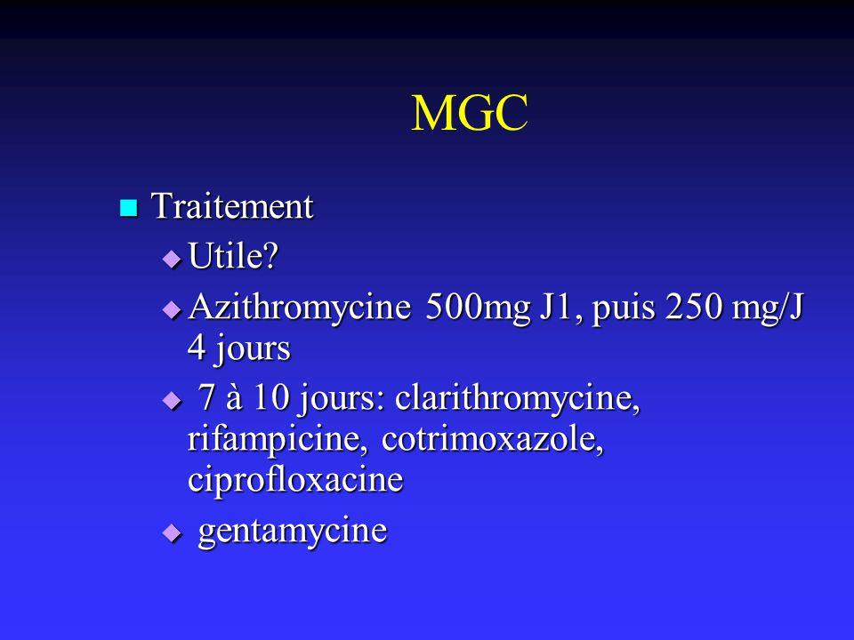 MGC Traitement Traitement Utile? Utile? Azithromycine 500mg J1, puis 250 mg/J 4 jours Azithromycine 500mg J1, puis 250 mg/J 4 jours 7 à 10 jours: clar