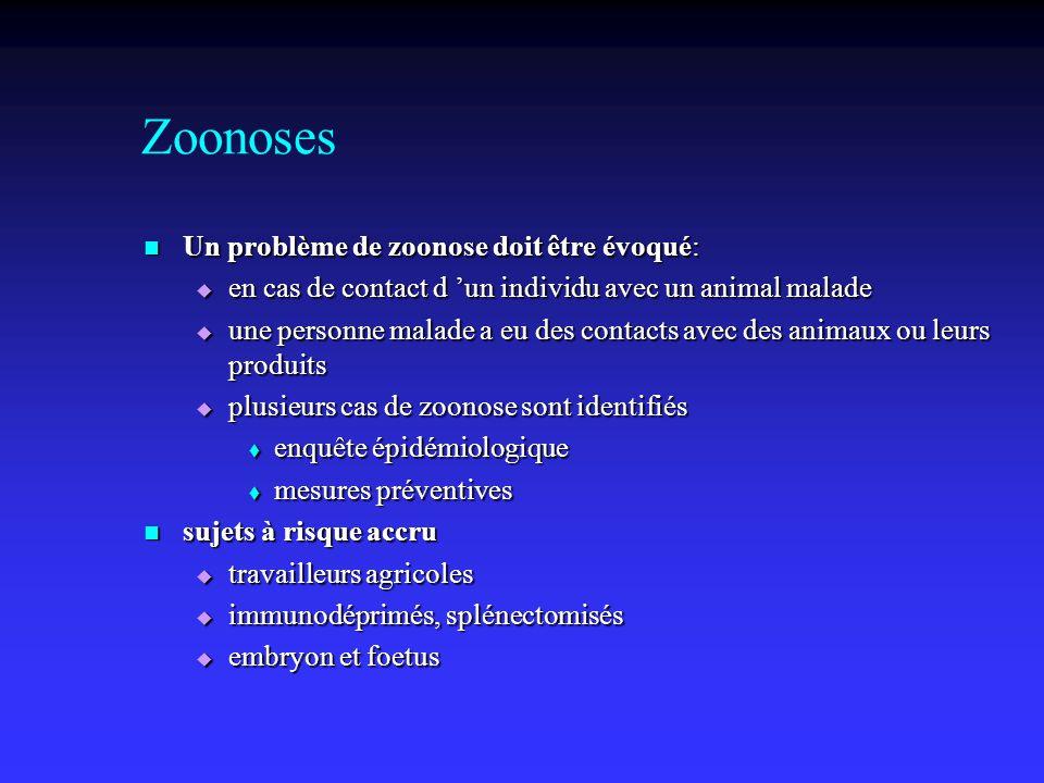 Zoonoses Un problème de zoonose doit être évoqué: Un problème de zoonose doit être évoqué: en cas de contact d un individu avec un animal malade en ca