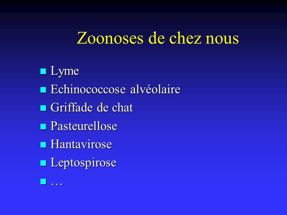 Zoonoses de chez nous Lyme Lyme Echinococcose alvéolaire Echinococcose alvéolaire Griffade de chat Griffade de chat Pasteurellose Pasteurellose Hantav