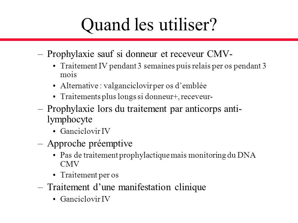 Quand les utiliser? –Prophylaxie sauf si donneur et receveur CMV- Traitement IV pendant 3 semaines puis relais per os pendant 3 mois Alternative : val