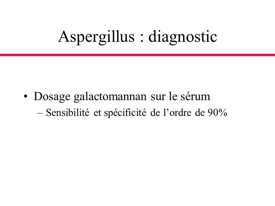 Aspergillus : diagnostic Dosage galactomannan sur le sérum –Sensibilité et spécificité de lordre de 90%