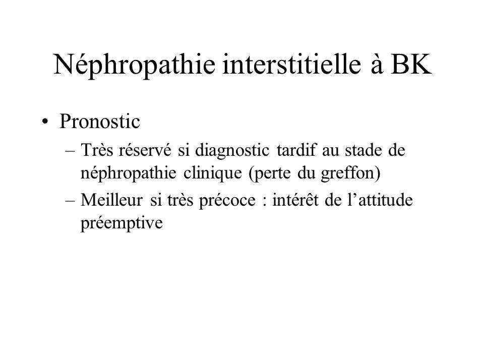 Néphropathie interstitielle à BK Pronostic –Très réservé si diagnostic tardif au stade de néphropathie clinique (perte du greffon) –Meilleur si très p