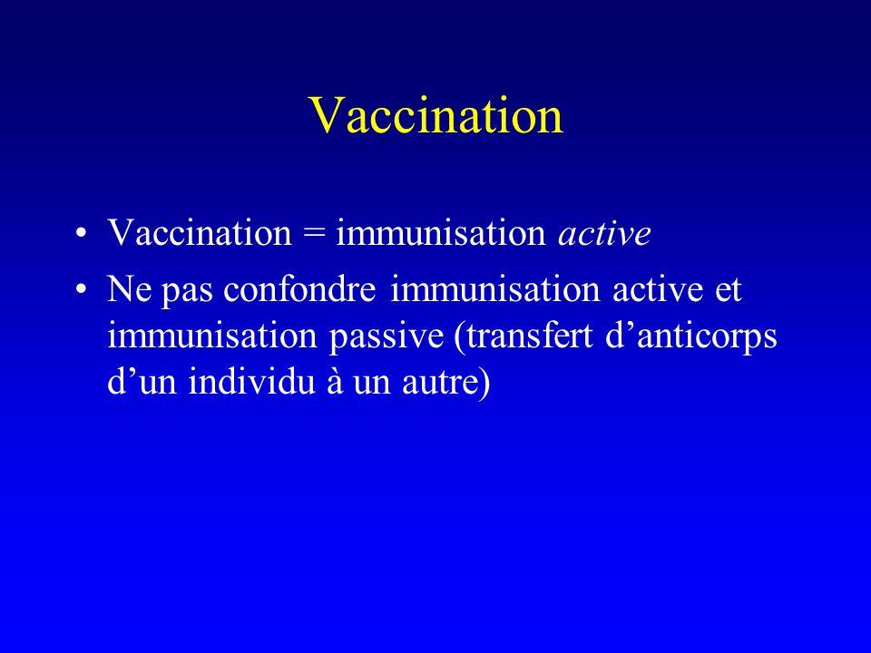Vaccination Vaccination = immunisation active Ne pas confondre immunisation active et immunisation passive (transfert danticorps dun individu à un autre)