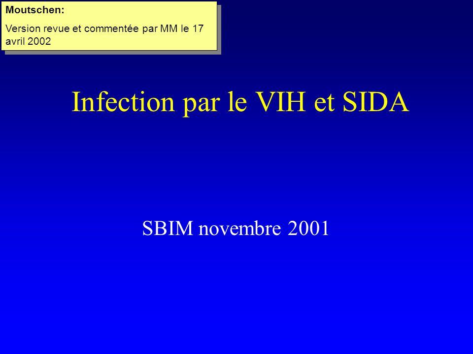 Infection par le VIH et SIDA SBIM novembre 2001 Moutschen: Version revue et commentée par MM le 17 avril 2002 Moutschen: Version revue et commentée par MM le 17 avril 2002