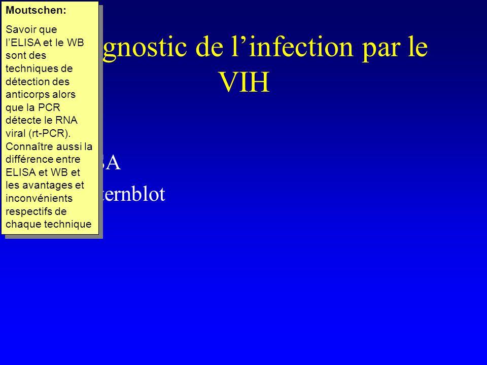 Diagnostic de linfection par le VIH ELISA Westernblot PCR Moutschen: Savoir que lELISA et le WB sont des techniques de détection des anticorps alors que la PCR détecte le RNA viral (rt-PCR).