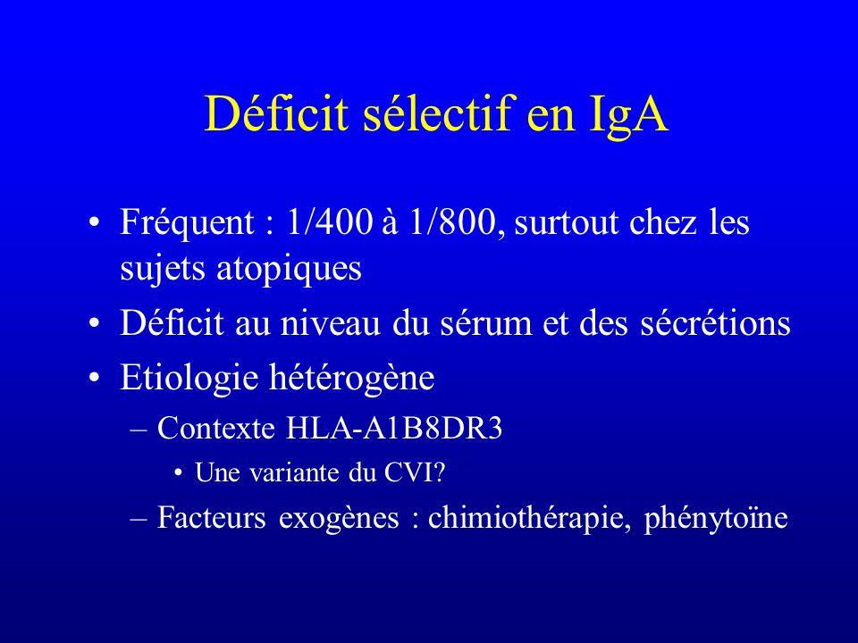 Déficit sélectif en IgA Fréquent : 1/400 à 1/800, surtout chez les sujets atopiques Déficit au niveau du sérum et des sécrétions Etiologie hétérogène