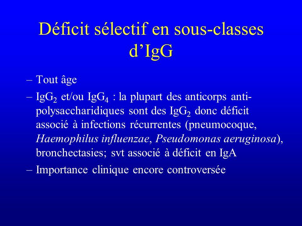 Déficit sélectif en sous-classes dIgG –Tout âge –IgG 2 et/ou IgG 4 : la plupart des anticorps anti- polysaccharidiques sont des IgG 2 donc déficit ass