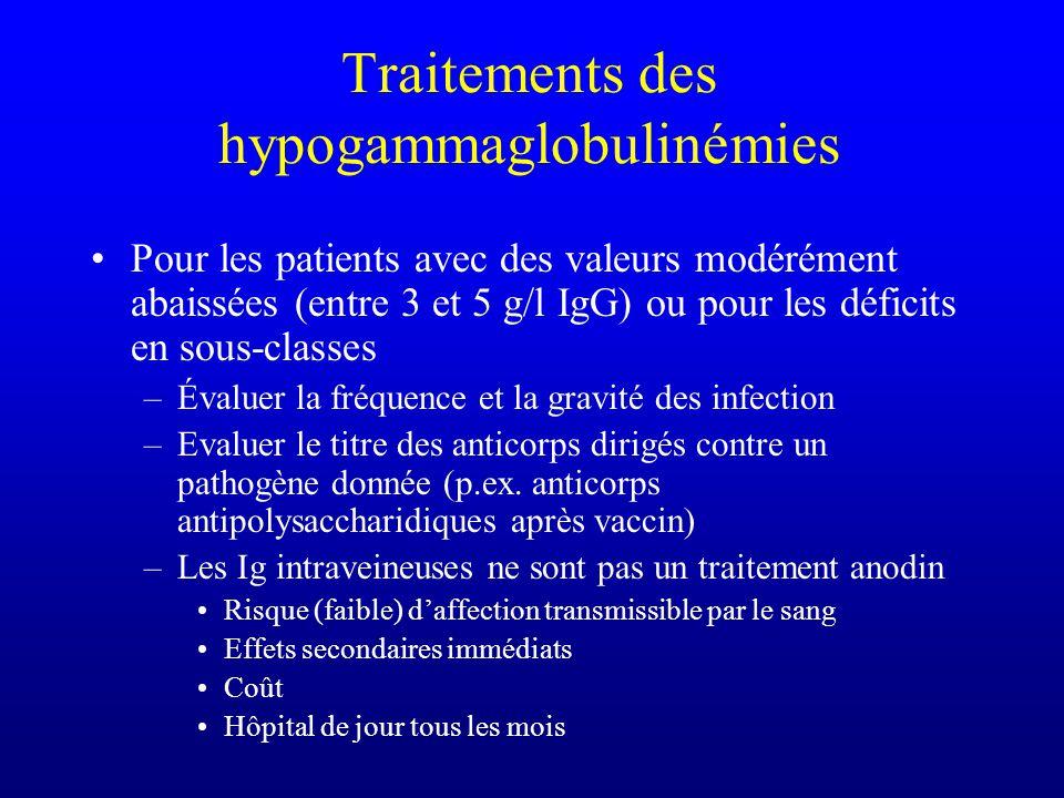 Traitements des hypogammaglobulinémies Pour les patients avec des valeurs modérément abaissées (entre 3 et 5 g/l IgG) ou pour les déficits en sous-cla