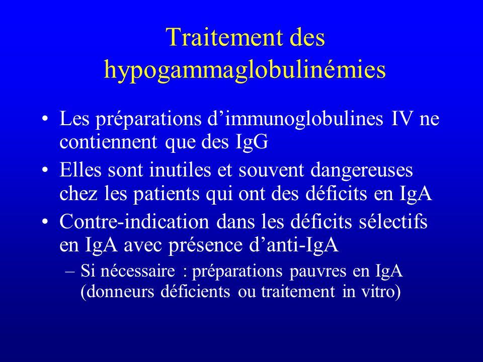 Traitement des hypogammaglobulinémies Les préparations dimmunoglobulines IV ne contiennent que des IgG Elles sont inutiles et souvent dangereuses chez