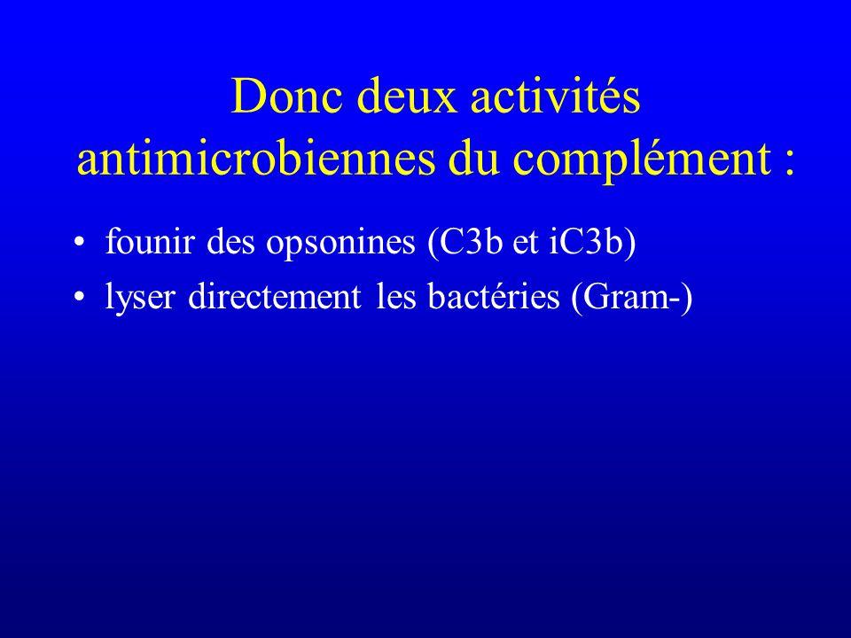 Donc deux activités antimicrobiennes du complément : founir des opsonines (C3b et iC3b) lyser directement les bactéries (Gram-)