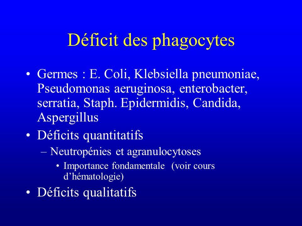 Déficit des phagocytes Germes : E. Coli, Klebsiella pneumoniae, Pseudomonas aeruginosa, enterobacter, serratia, Staph. Epidermidis, Candida, Aspergill