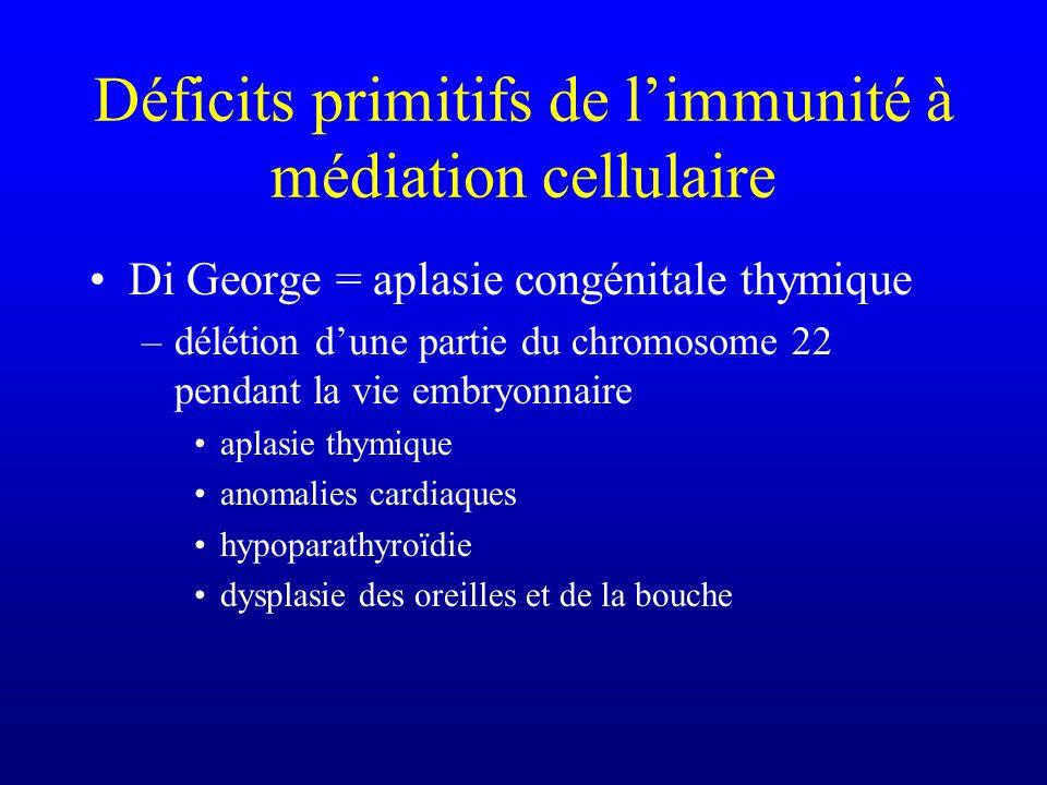 Déficits primitifs de limmunité à médiation cellulaire Di George = aplasie congénitale thymique –délétion dune partie du chromosome 22 pendant la vie