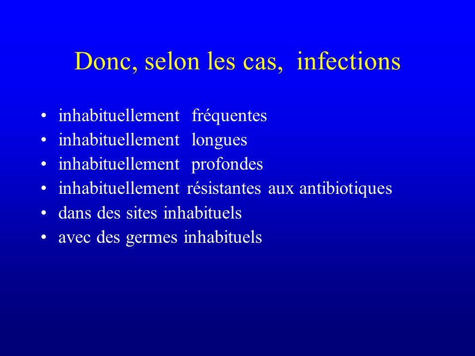 Donc, selon les cas, infections inhabituellement fréquentes inhabituellement longues inhabituellement profondes inhabituellement résistantes aux antib