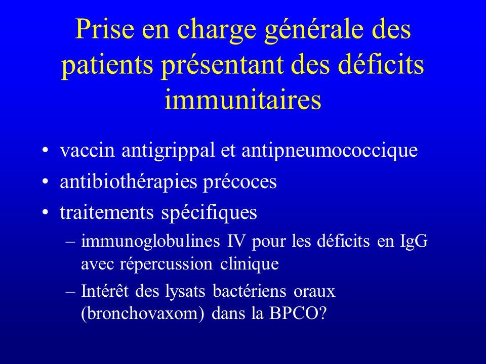 Prise en charge générale des patients présentant des déficits immunitaires vaccin antigrippal et antipneumococcique antibiothérapies précoces traiteme