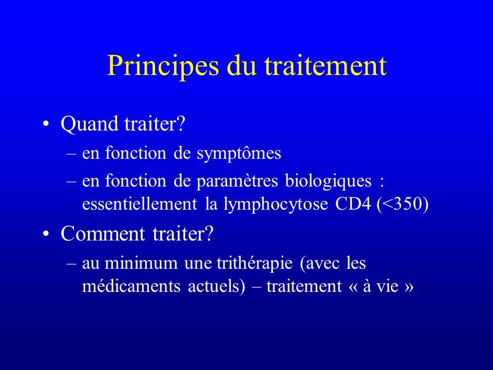 Principes du traitement Quand traiter? –en fonction de symptômes –en fonction de paramètres biologiques : essentiellement la lymphocytose CD4 (<350) C