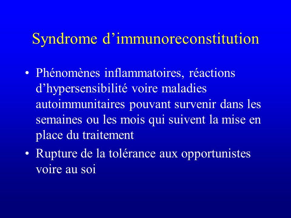 Syndrome dimmunoreconstitution Phénomènes inflammatoires, réactions dhypersensibilité voire maladies autoimmunitaires pouvant survenir dans les semain