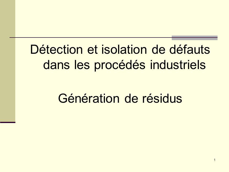 2 Génération de résidus - Méthodes Générateur de résidu Relation de parité ObservateurIdentification
