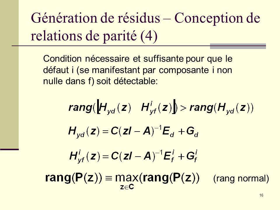 16 Génération de résidus – Conception de relations de parité (4) Condition nécessaire et suffisante pour que le défaut i (se manifestant par composant