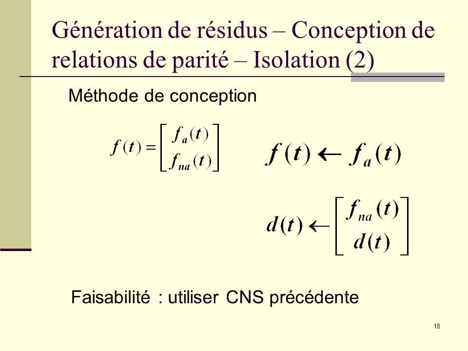 18 Génération de résidus – Conception de relations de parité – Isolation (2) Méthode de conception Faisabilité : utiliser CNS précédente