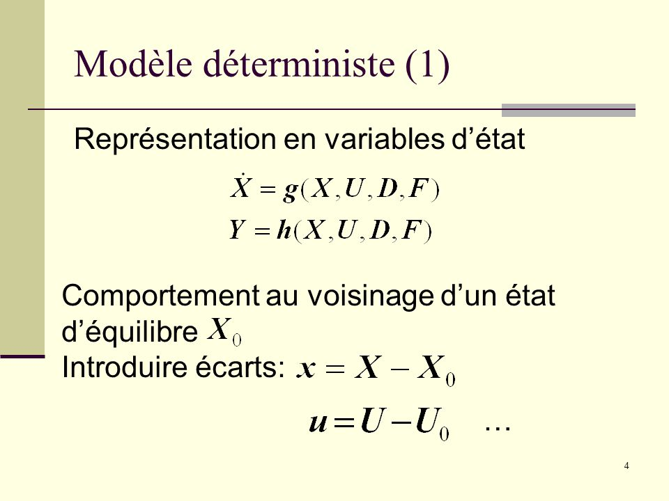 4 Modèle déterministe (1) Représentation en variables détat Comportement au voisinage dun état déquilibre Introduire écarts: …