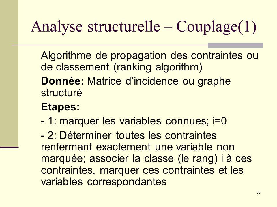 50 Analyse structurelle – Couplage(1) Algorithme de propagation des contraintes ou de classement (ranking algorithm) Donnée: Matrice dincidence ou gra
